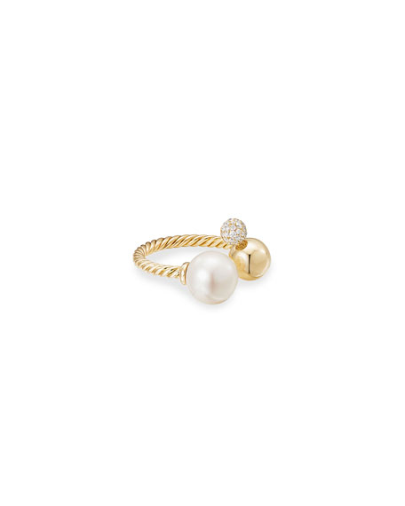 David Yurman Solari 18k Pearl and Diamond Cluster Ring, Size 8