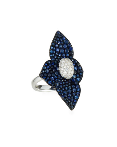 18K White Gold Double Lotus Diamond-Center Ring w/ Sapphires, Size 7