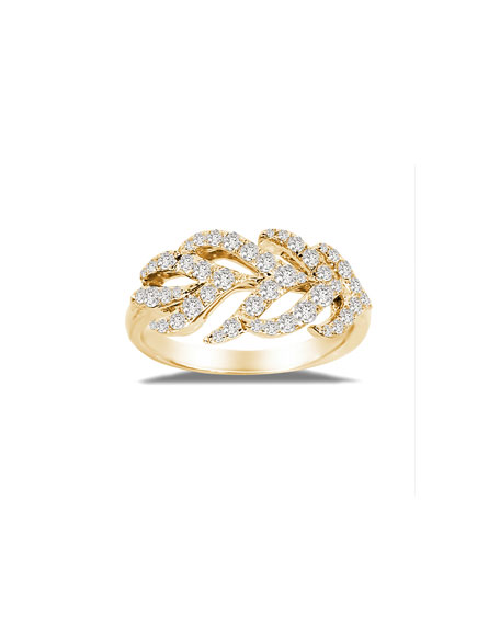 SUTRA 18K Gold Diamond Feather Ring, Size 7