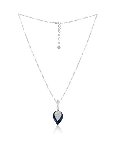 18K White Gold Sapphire and Diamond Lotus Leaf Necklace