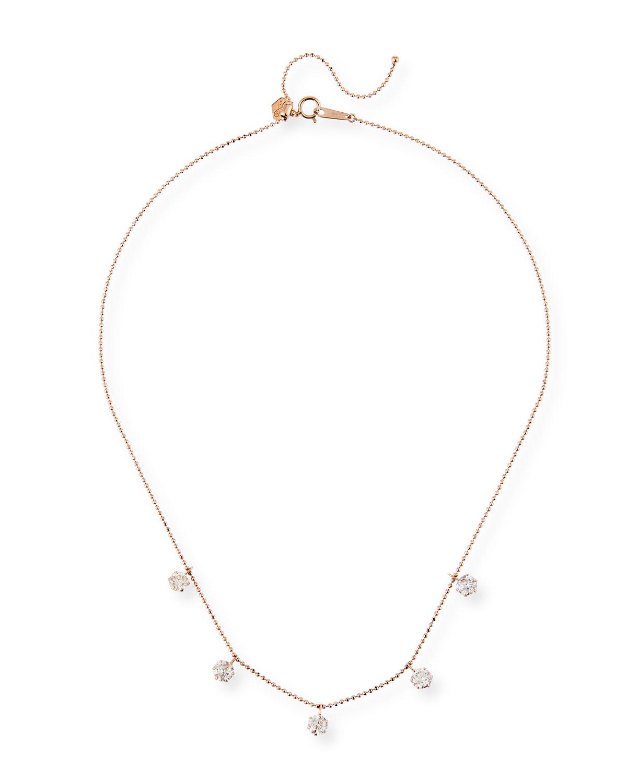 18k Rose Gold 5-Diamond Shaker Necklace