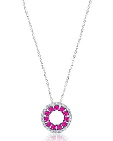 Graziela Gems 18k White Gold Ruby Diamond-Halo Necklace