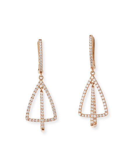 Frederic Sage 18k Pink Gold Diamond 2-Loop Triangle Drop Earrings