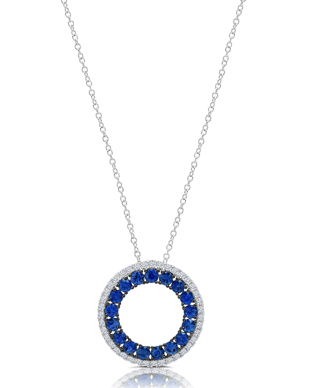 18k White Gold Blue Sapphire and Diamond Circle Pendant Necklace