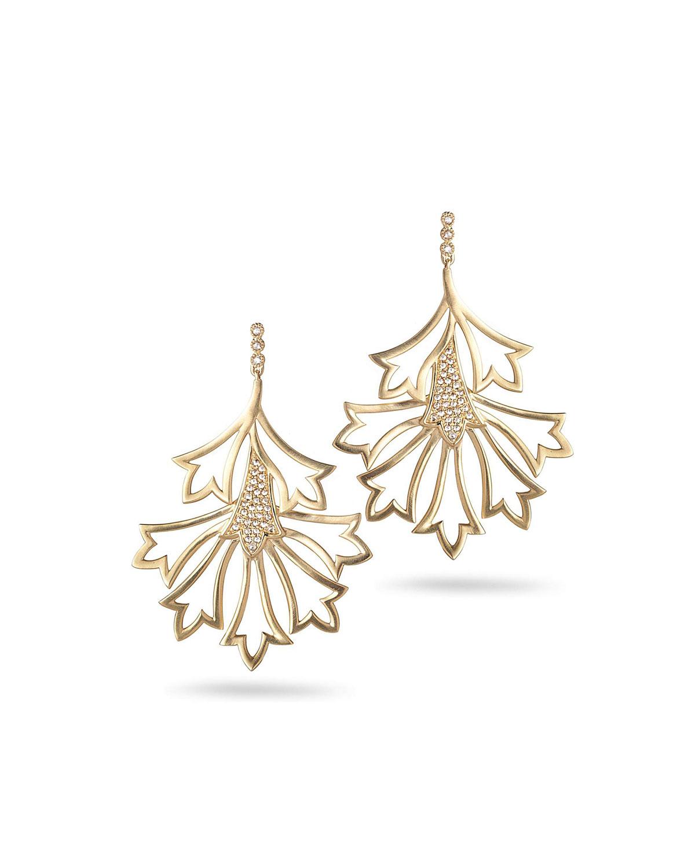 20K Sagrada Labyrinth Medium Diamond Earrings