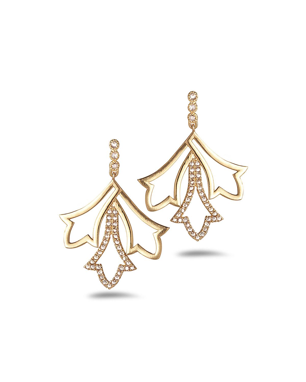 20K Sagrada Labyrinth Small Diamond Earrings
