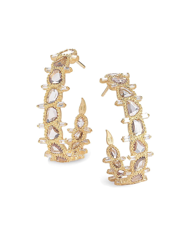 Luminosity 20K Medium Diamond Hoop Earrings