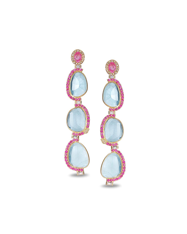 Affinity 20K 3-Aquamarine Sapphire-Trim Earrings
