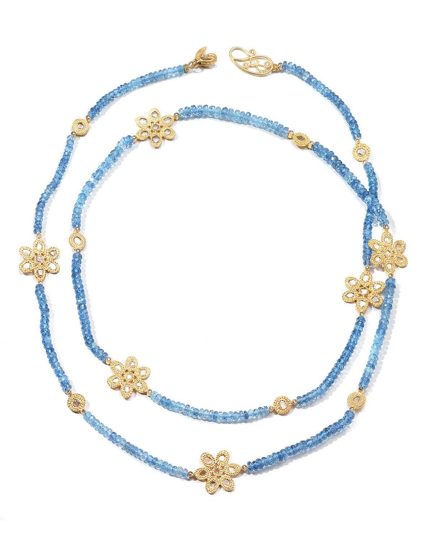 Affinity 20K Long Aquamarine Flower-Station Necklace
