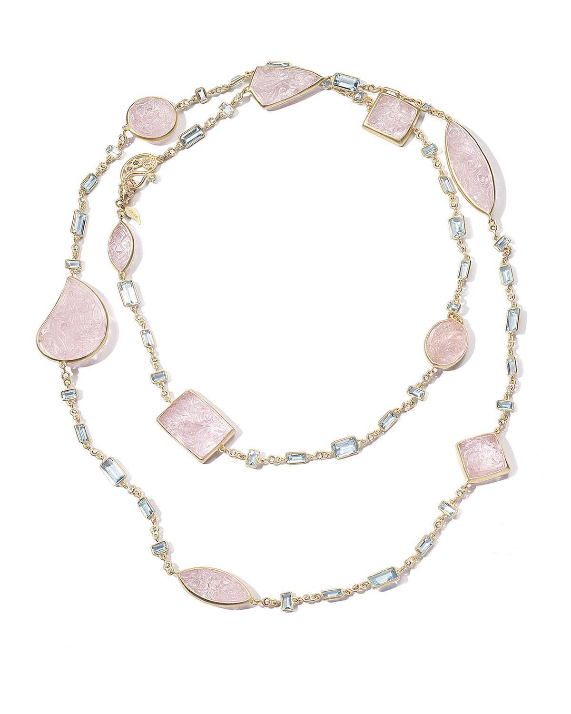 Affinity 20K Long Morganite & Aquamarine Necklace w/ Diamonds
