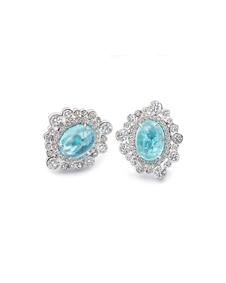 COOMI Trinity 18k White Gold Paraiba Oval Diamond-Trim Stud Earrings