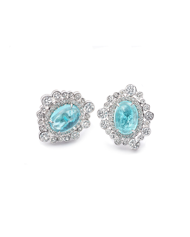 Trinity 18k White Gold Paraiba Oval Diamond-Trim Stud Earrings