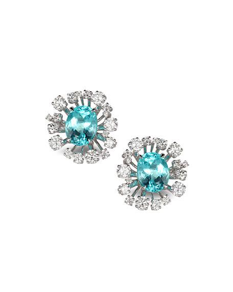 COOMI Trinity 18k White Gold Paraiba Star Burst Stud Earrings w/ Diamonds
