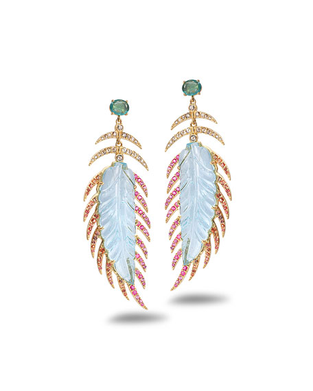 COOMI Affinity 20K Aquamarine Feather Earrings