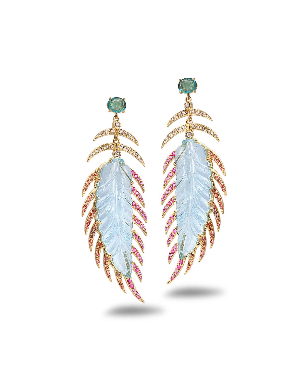 Affinity 20K Aquamarine Feather Earrings