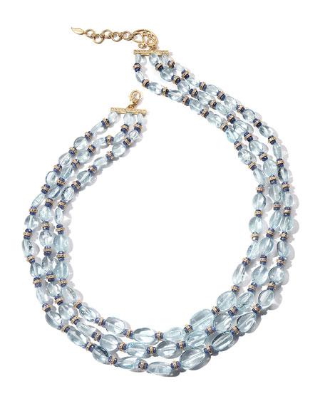 COOMI Affinity 20K Aquamarine 3-Row Necklace