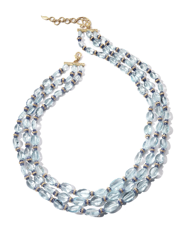 Affinity 20K Aquamarine 3-Row Necklace