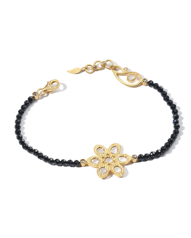 Affinity 20K Black Spinel Diamond-Flower Bracelet