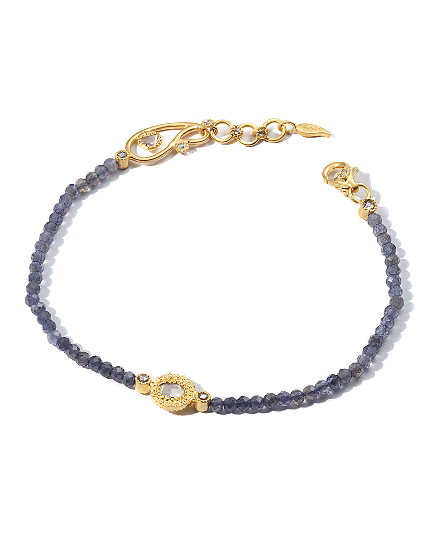 Affinity 20K Iolite Diamond-Station Bracelet