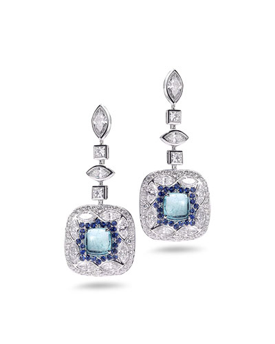 Trinity 18k White Gold Paraiba, Sapphire & Diamond Drop Earrings