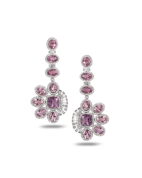 COOMI Trinity 18k White Gold Diamond-Pave Spinel Drop Earrings