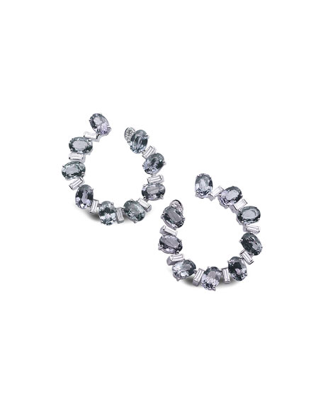 COOMI Trinity 18k White Gold Front-Facing Spinel Earrings w/ Diamonds
