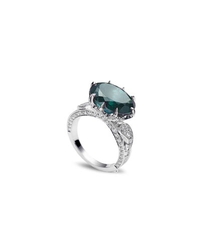 Trinity 18k White Gold Tourmaline Diamond-Pave Ring, Size 7
