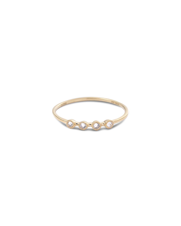 20k Bezel-Set 4-Diamond Stack Ring