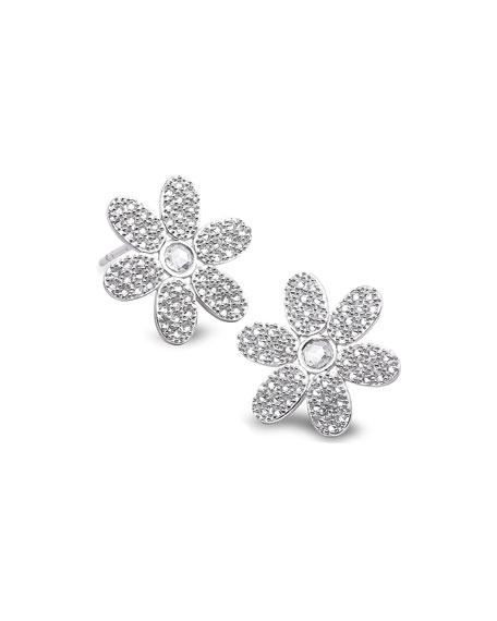 COOMI 18k White Gold Diamond Flower Stud Earrings