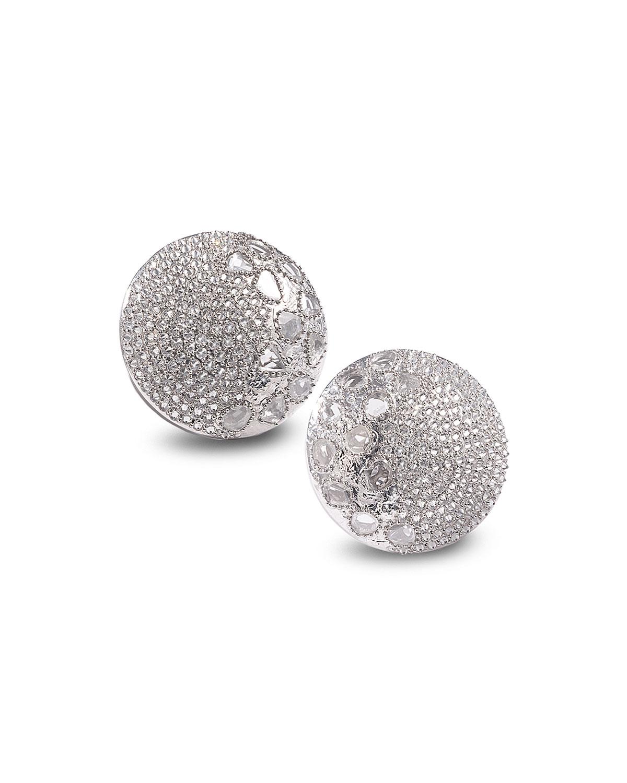 Eternity 18k White Gold Diamond Button Earrings