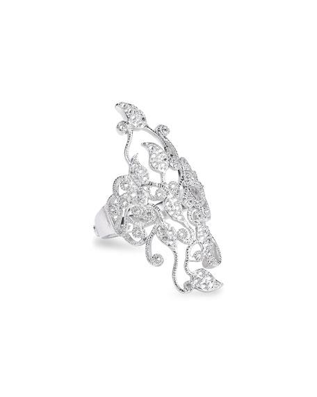 COOMI Vitality 18k White Gold Brilliant Diamond Filigree Ring, Size 7