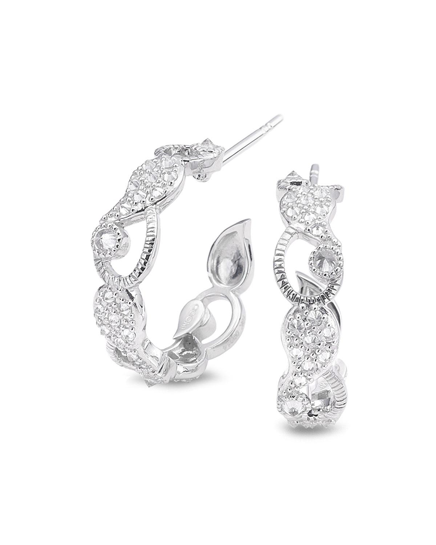 Vitality 18k White Gold Diamond Huggie Hoop Earrings
