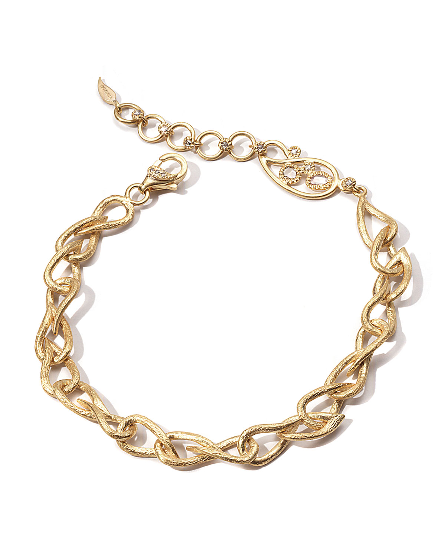 20K Paisley-Link Bracelet w/ Diamonds