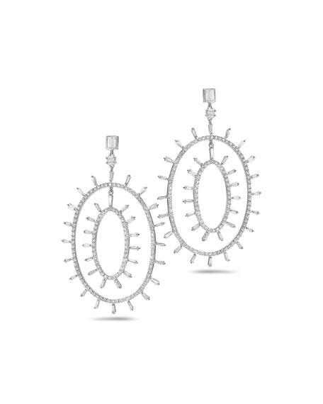 COOMI Trinity 18k White Gold Diamond Oval Hoop-Drop Earrings