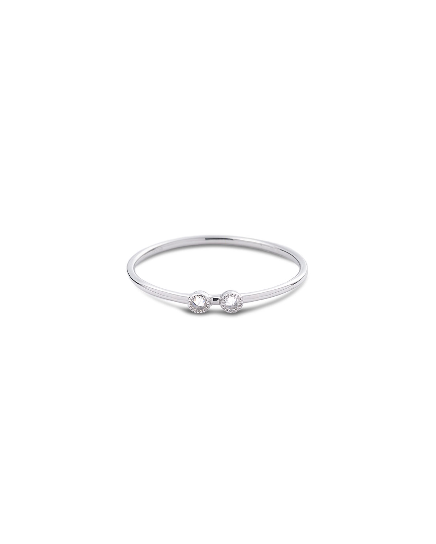 18k White Gold Bezel-Set 2-Diamond Stack Ring