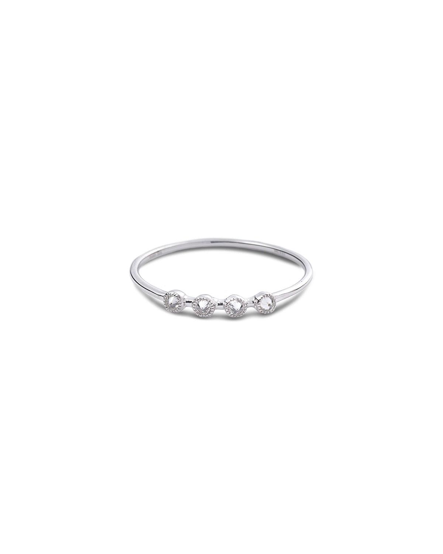 18k White Gold Bezel-Set 4-Diamond Stack Ring