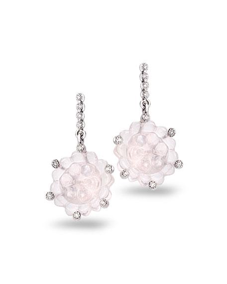 COOMI 18k White Gold Rose Quartz Drop Earrings