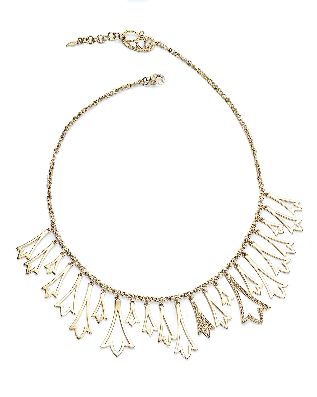20K Sagrada Labyrinth Diamond Charm Necklace