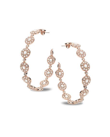 COOMI Eternity 18k Rose Gold High-End Opera Diamond Hoop Earrings
