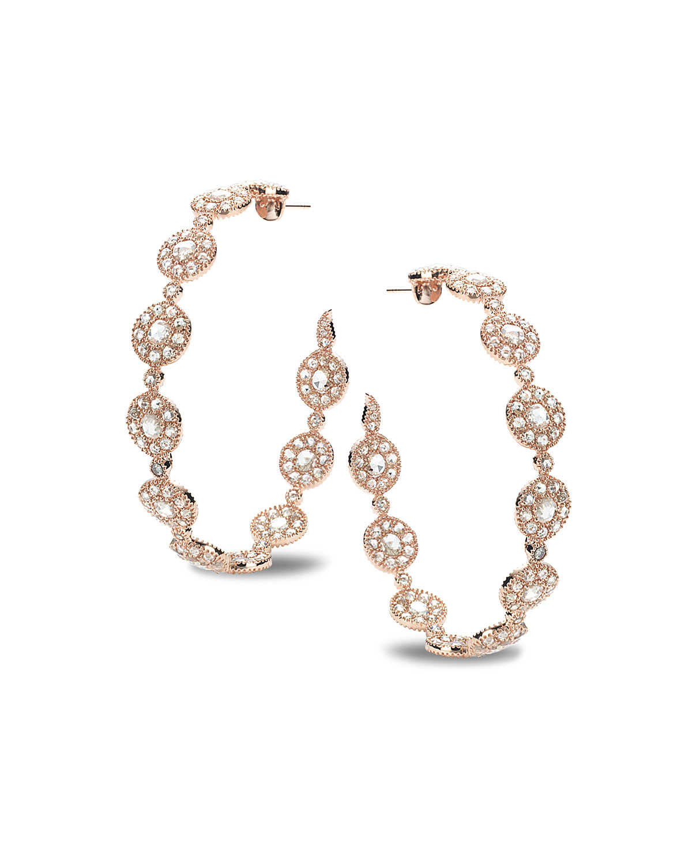 Eternity 18k Rose Gold High-End Opera Diamond Hoop Earrings
