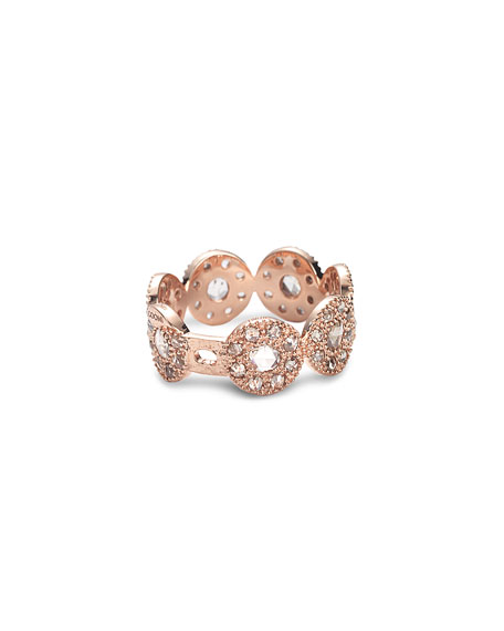 COOMI Eternity 18k Rose Gold Opera Band Ring w/ Diamonds, Size 7