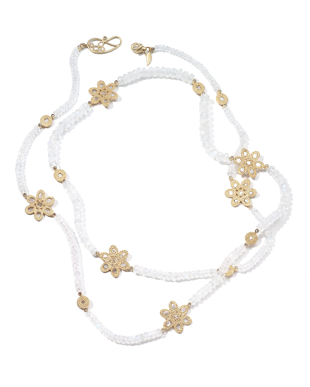Affinity 20K Long Moonstone Diamond-Flower Necklace