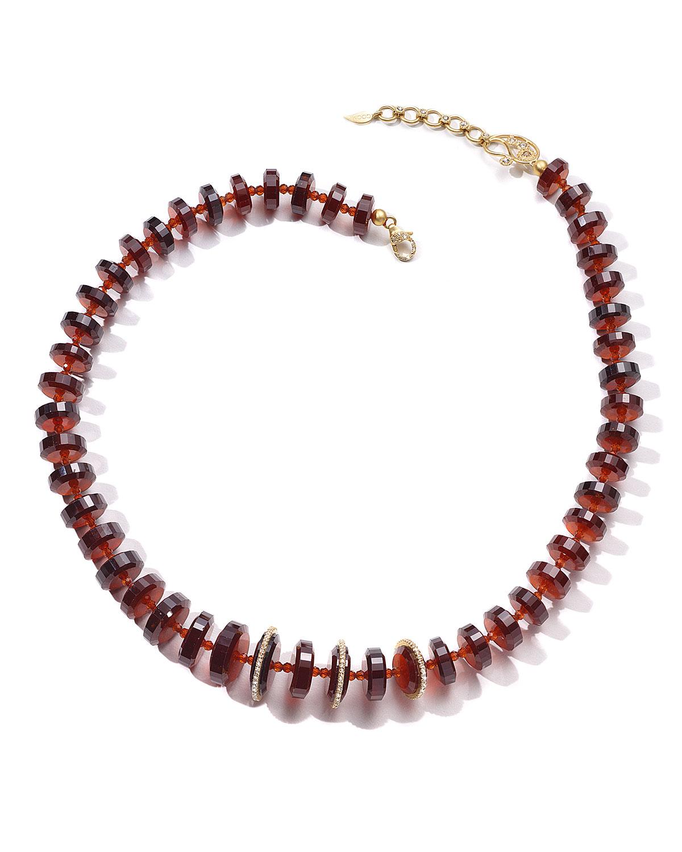 Affinity 20K Garnet Necklace w/ Diamonds