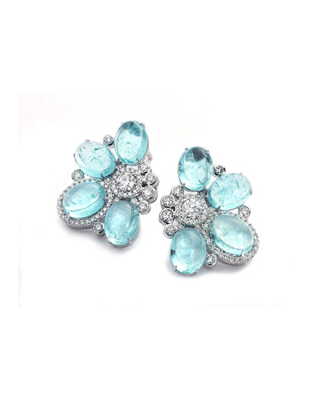 COOMI Trinity One-of-a-Kind 18k White Gold Paraiba Multi-Oval Earrings