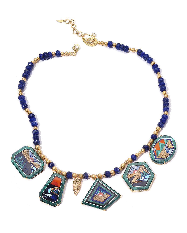 Affinity 20K Malachite 5-Pendant Necklace w/ Lapis and Diamonds