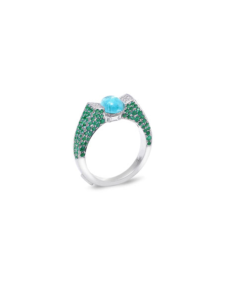 COOMI Trinity 18k White Gold Paraiba & Emerald Ring, Size 7