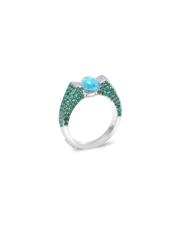 Trinity 18k White Gold Paraiba & Emerald Ring