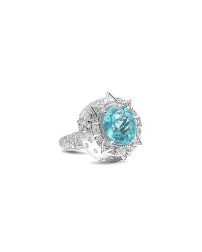 Trinity 18k White Gold Paraiba Tourmaline Mixed-Diamond Ring, Size 7