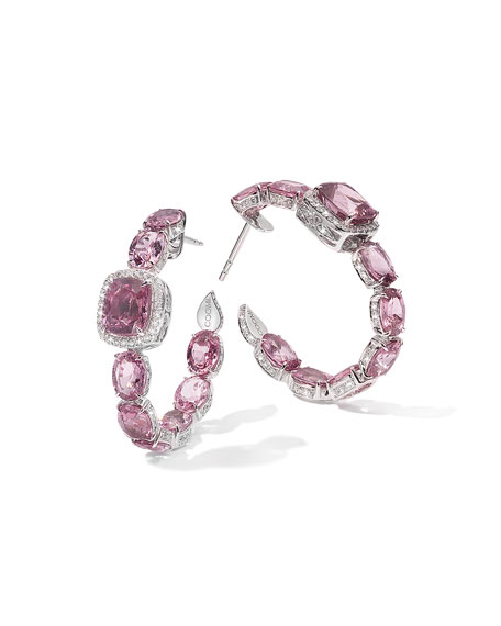 COOMI Trinity 18k White Gold Pink Spinel Hoop Earrings w/ Diamonds