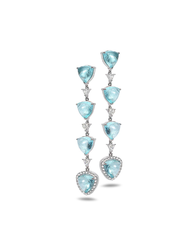 Trinity 18k White Gold Tourmaline Dangle Earrings